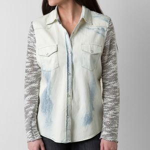 JAK Pieced Pearl Snap Denim Acid Wash Shirt